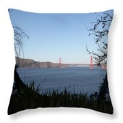 Vista To The San Francisco Golden Gate Bridge - 5d20983 Throw Pillow by Wingsdomain Art and Photography