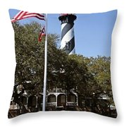 Viva Florida - The St Augustine Lighthouse Throw Pillow by Christine Till