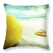 Volleyball In The Sand With Sandals Throw Pillow by Sandra Cunningham