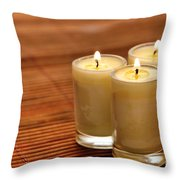 Votive Candle Burning Throw Pillow by Olivier Le Queinec