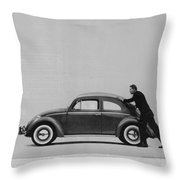 Vw Beetle Advert 1962 - And If You Run Out Of Gas It's Easy To Push Throw Pillow by Georgia Fowler