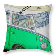 Vw Surf Bus Throw Pillow by Cheryl Young