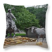 Waco - Branding The Brazos Throw Pillow by Christine Till