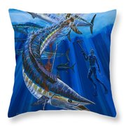 Wahoo Spear Throw Pillow by Carey Chen