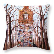 Waiting At Church Ruins Throw Pillow by Misuk  Jenkins