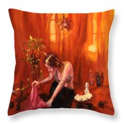 Waiting For My Husband Throw Pillow by Shelley Irish