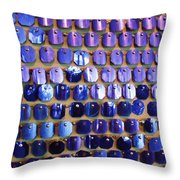 Wall Of Blue Throw Pillow by Anna Villarreal Garbis