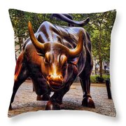 Wall Street Bull Throw Pillow by David Smith