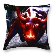 Wall Street Bull - Painterly Throw Pillow by Wingsdomain Art and Photography