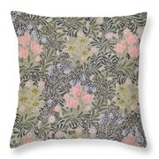 Wallpaper Design With Tulips Daisies And Honeysuckle  Throw Pillow by William Morris