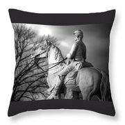 War Horses - 8th Pennsylvania Cavalry Regiment Pleasonton Avenue Sunset Autumn Gettysburg Throw Pillow by Michael Mazaika
