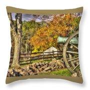 War Thunder - 3rd Massachusetts Light Artillery Battery C - J. Weikert Farm Autumn Gettysburg Throw Pillow by Michael Mazaika