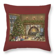 Warm Christmas Throw Pillow by Beverly Levi-Parker