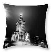 Warsaw Poland Downtown Skyline At Night Throw Pillow by Michal Bednarek