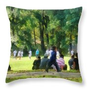 Watching The Soccer Game Throw Pillow by Susan Savad
