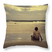 Watching the Waves Throw Pillow by Linda Lees