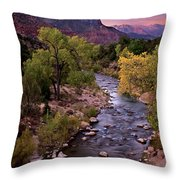 Watchman  Tower Zion Sunrise Throw Pillow by Dave Dilli