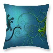 water colour print of twin geckos and swirls Duality Throw Pillow by Sassan Filsoof