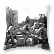 Water Sculpture In Spokane Throw Pillow by Carol Groenen