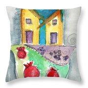 Watercolor Hamsa  Throw Pillow by Linda Woods