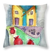 Watercolor Hamsa  Throw Pillow by Linda Woods
