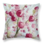 Watercolor Painting of Pink Cherry Blossoms Throw Pillow by Beverly Brown Prints