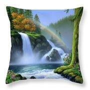 Waterfall Throw Pillow by Jerry LoFaro