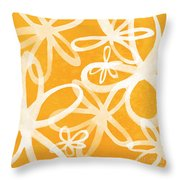 Waterflowers- Orange And White Throw Pillow by Linda Woods