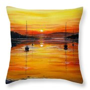 Watery Sunset At Bala Lake Throw Pillow by Andrew Read