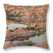 Watson Lake Sunset Throw Pillow by Angie Schutt