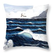 Waves And Tern Throw Pillow by Barbara Griffin