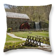 Wayside Grist Mill 8 Throw Pillow by Dennis Coates