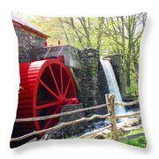 Wayside Inn Grist Mill Throw Pillow by Barbara McDevitt