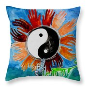 We Are All One Race Human Throw Pillow by Genevieve Esson