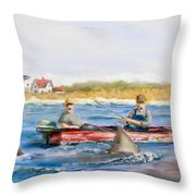 We Need A Biggah Boat Throw Pillow by Jack Skinner