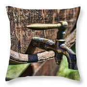 Weathered tap and barrel Throw Pillow by Paul Ward