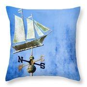 Weathervane Clipper Ship Throw Pillow by Carol Leigh