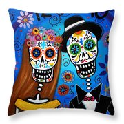 Wedding Couple  Throw Pillow by Pristine Cartera Turkus