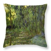 Weeping Willows The Waterlily Pond at Giverny Throw Pillow by Claude Monet