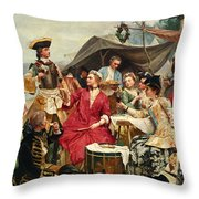 Welcome Throw Pillow by Gustave Jean Jacquet