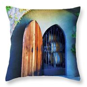 Welcome To The Winery Throw Pillow by Elaine Plesser