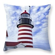 West Quoddy Head Lighthouse And Clouds Throw Pillow by Marty Saccone