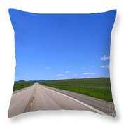 Western Road Throw Pillow by Olivier Le Queinec