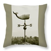 Whale Weathervane In Sepia Throw Pillow by Ben and Raisa Gertsberg