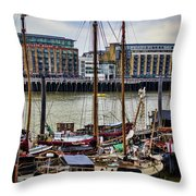 Wharf Ships Throw Pillow by Heather Applegate