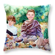 What Leaf Fight Throw Pillow by Hanne Lore Koehler