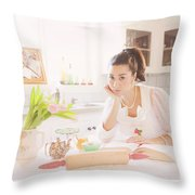 What's For Dinner Throw Pillow by Theresa Tahara