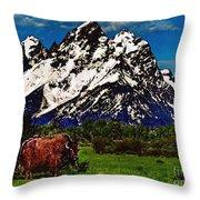 Where The Buffalo Roam Throw Pillow by Bob and Nadine Johnston