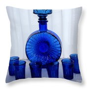 Whiskey Decanter And Shot Glasses Throw Pillow by Barbara Griffin