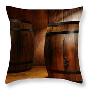 Whisky Barrel Throw Pillow by Olivier Le Queinec